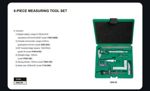 INSIZE 5062 <br>6 PC  MEASURING TOOL SET
