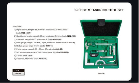 INSIZE 5091<br> 9 PC MEASURING TOOL SET