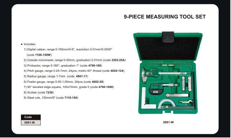MEASURING TOOL SET - INSIZE 5091 9pc