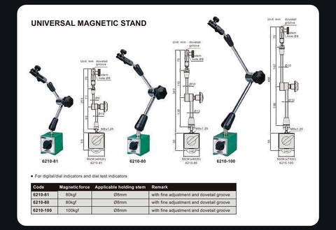 INSIZE 6210-100 <br> UNIVERSAL MAGNETIC STAND (100 KGF)