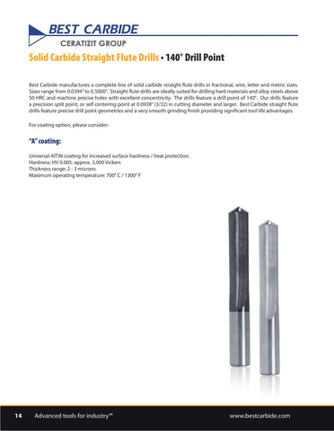 "Wallers Industrial Hardware  BEST CARBIDE - 9/64"" SOLID CARBIDE STRAIGHT FLUTE DRILL (UNCOATED)"
