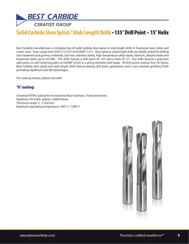 Wallers Industrial Hardware  BEST CARBIDE - 9MM  SOLID CARBIDE STUB LENGTH DRILL (COATED, NO THROUGH HOLE)