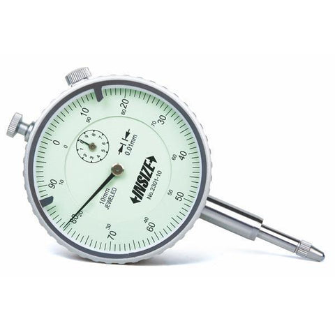INSIZE 2301-10 <BR> 10mm LUG BACK DIAL INDICATOR