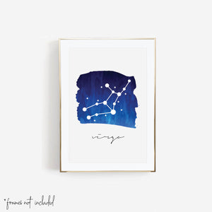 Virgo Zodiac Watercolor Print