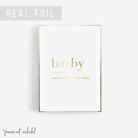 Baby Definition Foiled Art Print - Typologie Paper Co