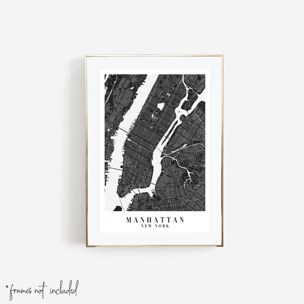 Manhattan New York Minimal Black Mono Street Map Print