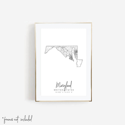 Maryland Minimal Street Map Print