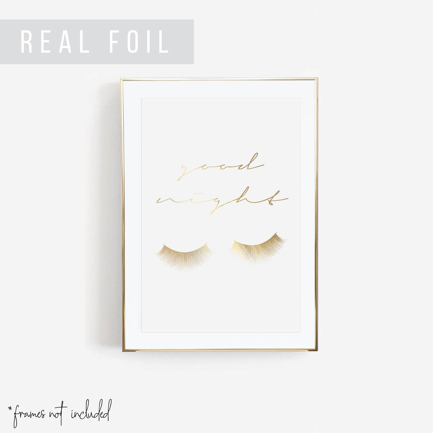 Goodnight Eyelashes Makeup Foiled Art Print