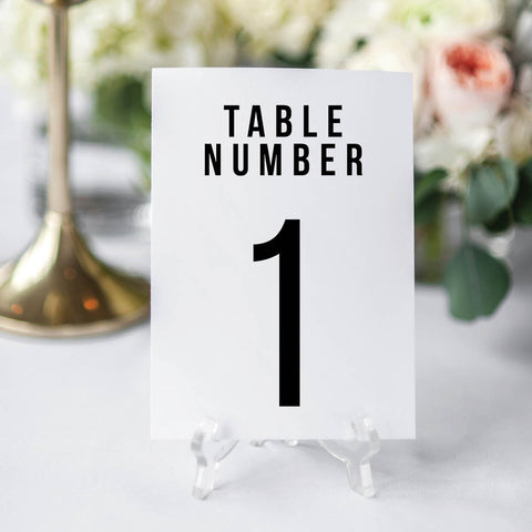 Bold Caps Wedding Table Number Cards