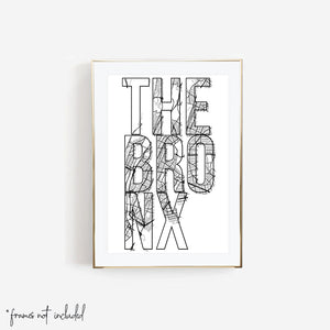 The Bronx Street Map Typography Print