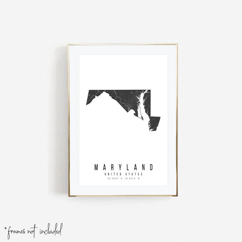Maryland Mono Black and White Modern Minimal Street Map Print