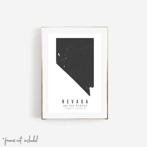 Nevada Mono Black and White Modern Minimal Street Map Print