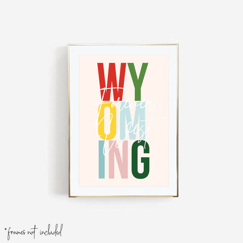 "Wyoming, ""Forever West"" Colorful State Print"