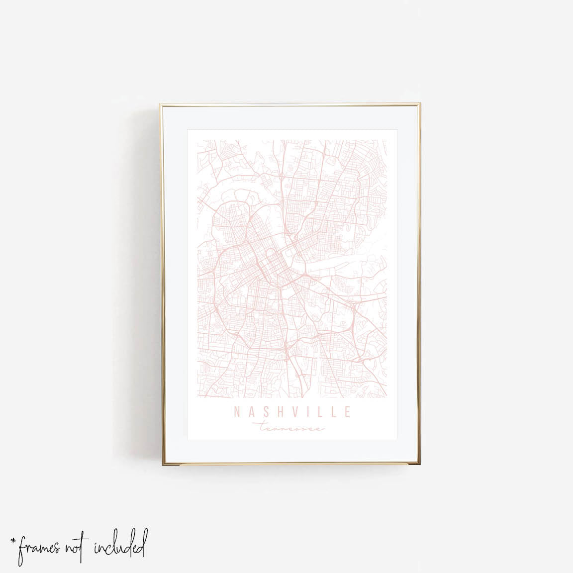 Nashville Tennessee Light Pink Minimal Street Map Print