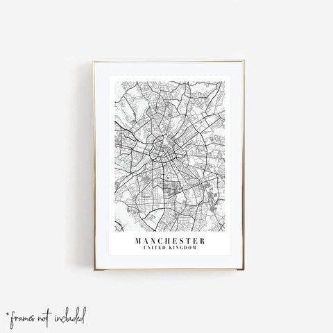 Manchester United Kingdom Blue Water Minimal Street Map Print