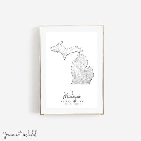 Michigan Minimal Street Map Print