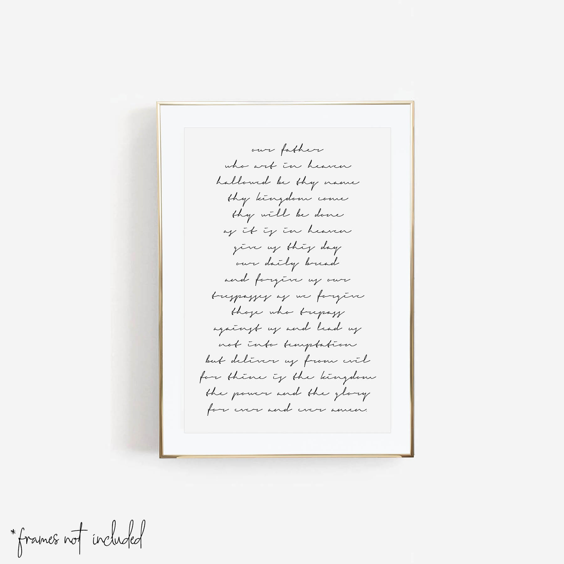 Our Father Who Art In Heaven White Script Print