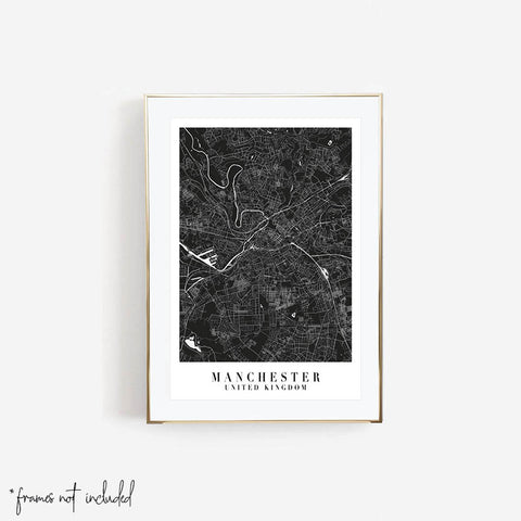 Manchester United Kingdom Mono Black and White Minimal Street Map Print