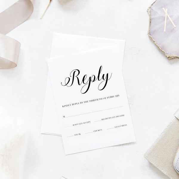 Floral Sketch Wedding Reply / RSVP Cards