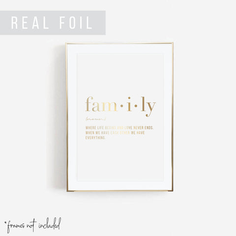 Family Definition Foiled Art Print
