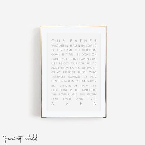Our Father Who Art In Heaven White Print