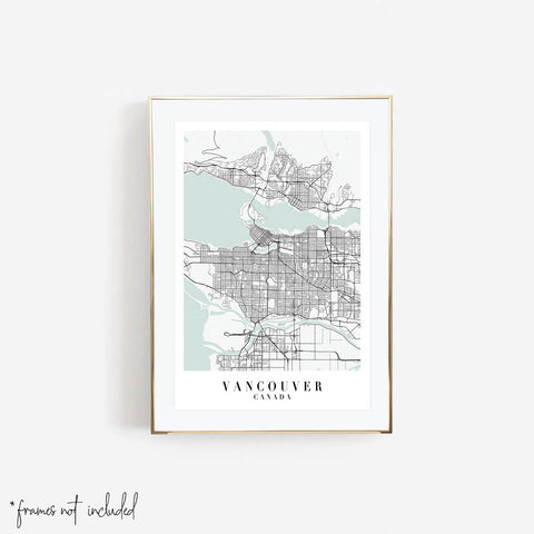 Vancouver Canada Blue Water Street Map Print