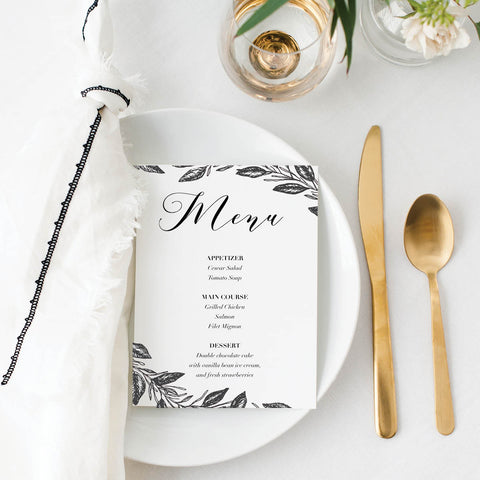 Black and White Floral Wedding Menu Cards
