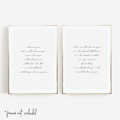 I Choose You and I Will Choose You Over and Over ... Print Set