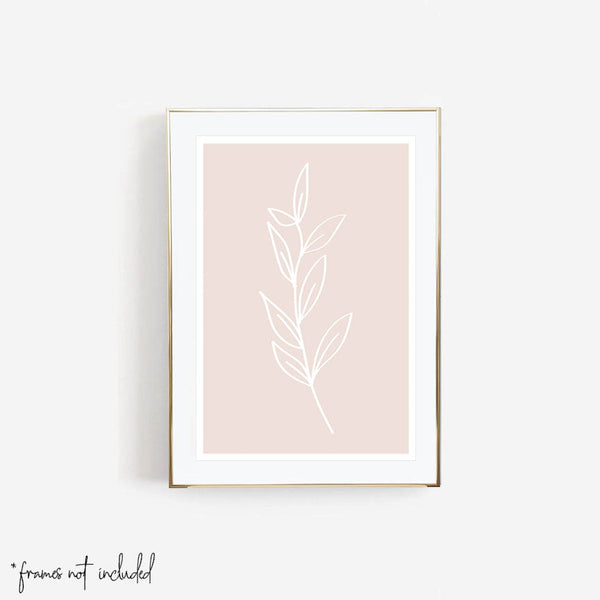 Leaf Line Art Tan Print