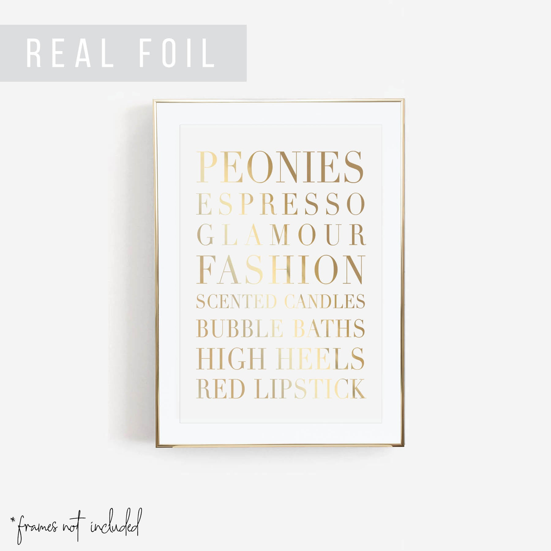 Fashion Words Foiled Art Print
