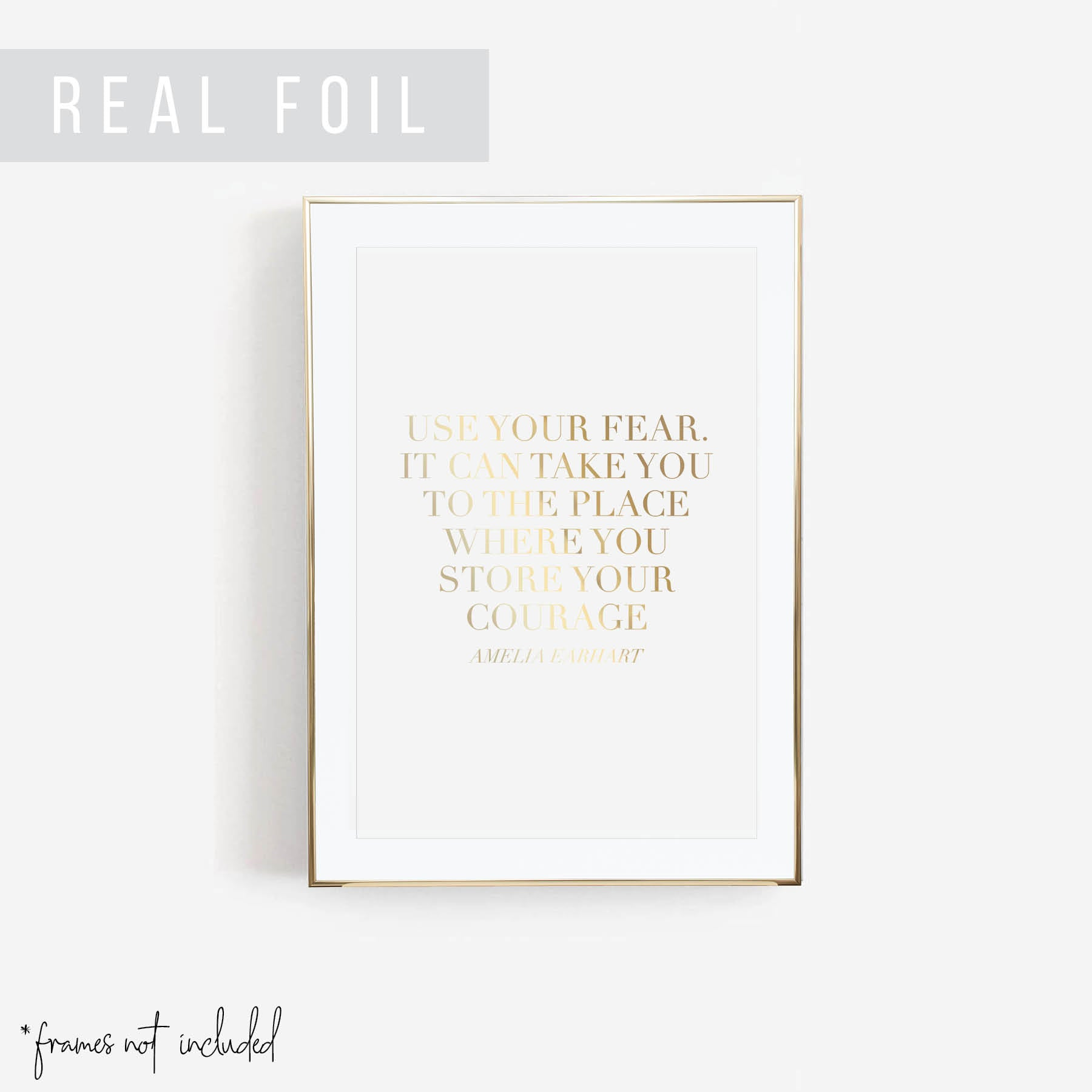 Use Your Fear. It Can Take You to the Place Where You Store Your Courage. -Amelia Earhart Quote Foiled Art Print