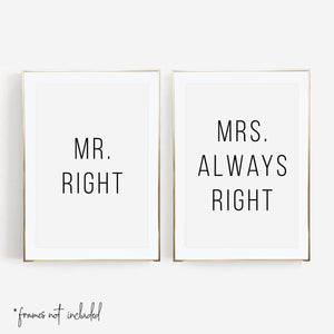 Mr. Right / Mrs. Always Right Print Set