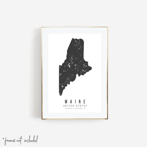 Maine Mono Black and White Modern Minimal Street Map Print