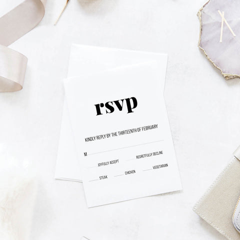 Bold and Modern Wedding Reply / RSVP Cards