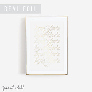 New York Word Outline Foiled Art Print