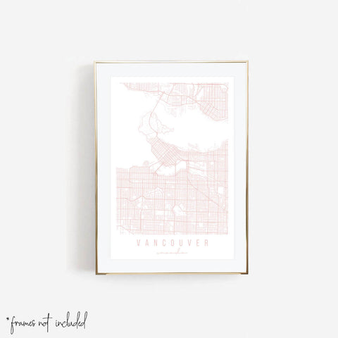 Vancouver Canada Light Pink Minimal Street Map Print