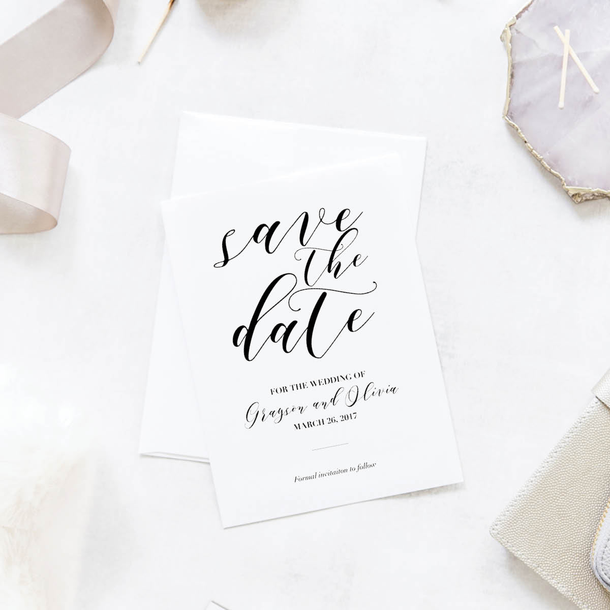 Minimal Script Wedding Save the Date Cards