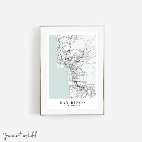 San Diego California Blue Water Street Map Print