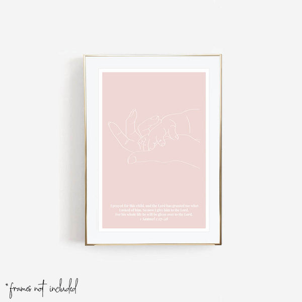 1 Samuel 1:27-28 For This Child Line Art Sketch Peach Print