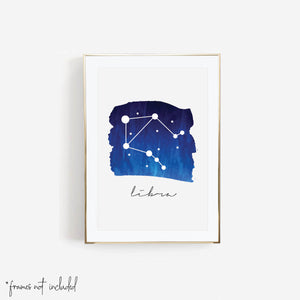 Libra Zodiac Watercolor Print