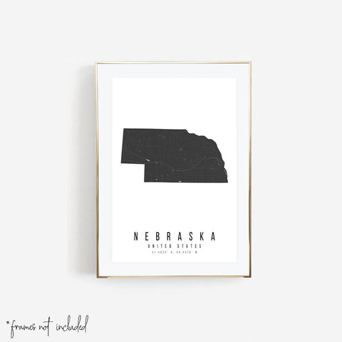 Nebraska Mono Black and White Modern Minimal Street Map Print