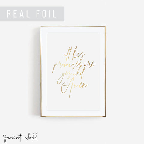 All His Promises Are Yes and Amen Foiled Art Print - Typologie Paper Co