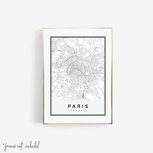 Paris France Street Map Print