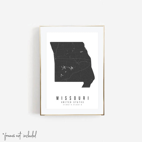 Missouri Mono Black and White Modern Minimal Street Map Print