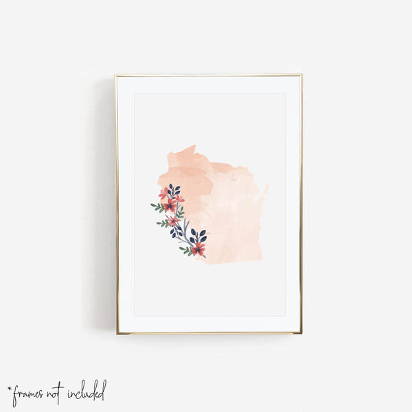 Watercolor Floral Wisconsin Print