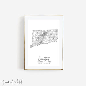 Connecticut Minimal Street Map Print