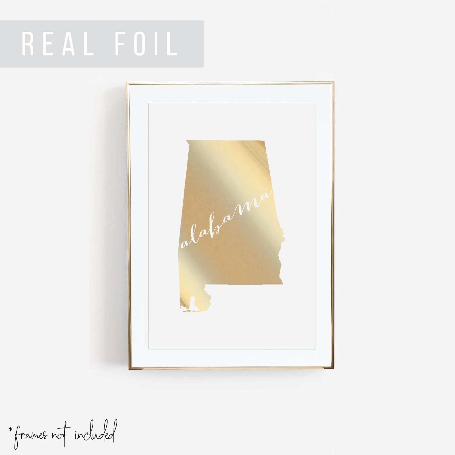 Alabama State Foiled Art Print - Typologie Paper Co