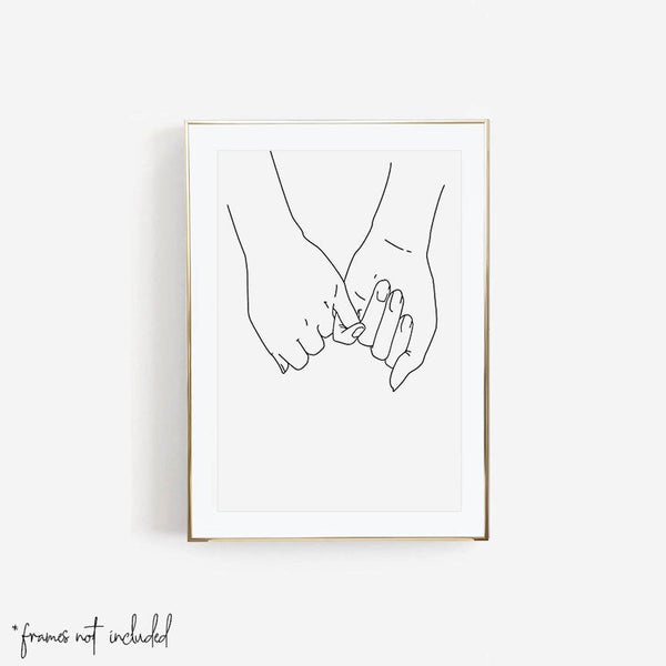 Pinky Promise I Love You Forever Line Art Minimal Print