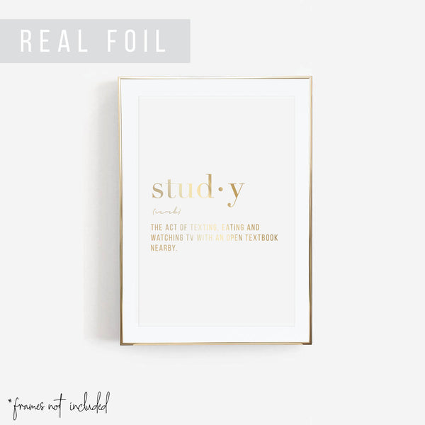 Study Definition Foiled Art Print