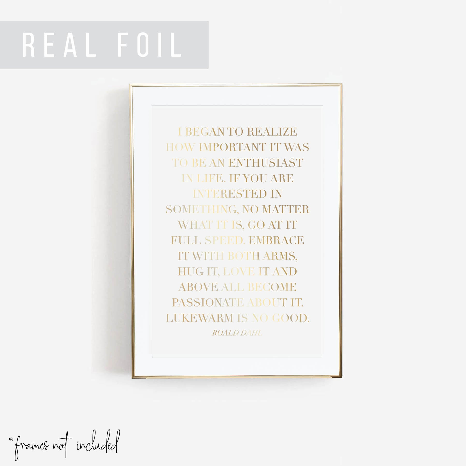 I Began to Realize How Important It Was to be An Enthusiast In Life ... -Roald Dahl Quote Foiled Art Print